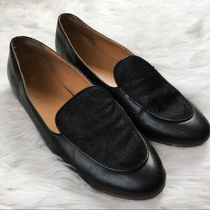 J. Crew Black Leather Fur Loafer Flats